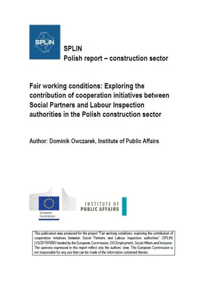 Fair working conditions: Exploring the contribution of cooperation initiatives between Social Partners and Labour Inspection authorities in the Polish construction sector