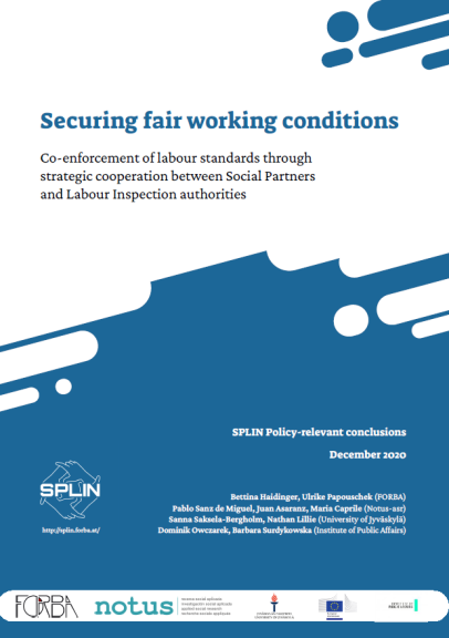 POLICY CONCLUSIONS. SPLIN. Securing fair working conditions. Co-enforcement of labour standards through strategic cooperation between Social Partners and Labour Inspection authorities