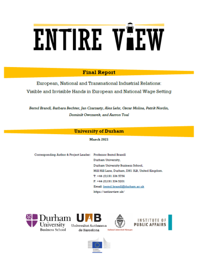 Final Report: European, National and Transnational Industrial Relations: Visible and Invisible Hands in European and National Wage Setting